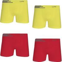 60e97f11b Kit Cueca Lupo Boxer Microfibra Sem Costura 4 Peças Masculina -  Masculino-Amarelo+Vermelho
