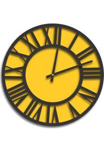 Relógio De Parede Premium Amarelo Com Números Romanos Em Relevo Preto Ônix 50Cm Grande