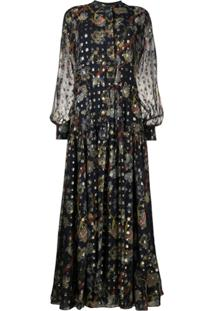 Chloé Vestido Longo Com Estampa Floral - Azul
