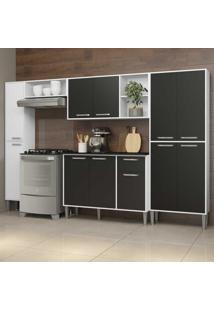 Cozinha Completa Compacta C/ Armã¡Rio E Balcã£O C/ Tampo 5 Pã§S Xangai Classic Multimã³Veis Bca/Preta - Incolor - Dafiti