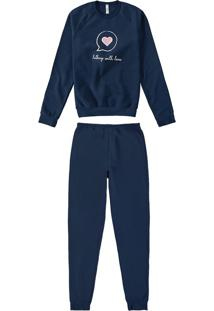 Pijama Longo Em Moletom Com Estampa Malwee Liberta