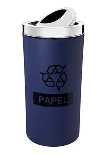 Lixeira Seletiva Para Papel Brinox Com Tampa Basculante Azul - 9 L