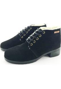 Bota Coturno Forrada Em Lã Quality Shoes Camurça Preta