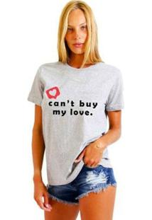 Camiseta Joss Feminina Estampada Can'T Buy My Love - Feminino-Mescla