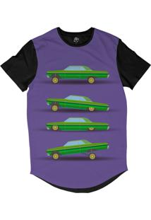 Camiseta Bsc Longline Desenho 4 Carros Lowriders Sublimada Preta Roxa