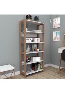 Estante Para Livros 6 Prateleiras Branco/Castanho Est4003 - Appunto