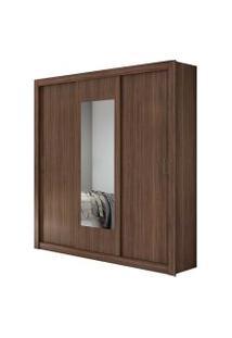Guarda Roupa Casal C/ Espelho 3 Portas 3 Gavetas Apoena Móveis Lopas Marrom