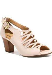 Sandália Zariff Shoes Salto Couro - Feminino-Nude
