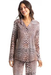 Pijama Longo Abotoado Estampado Animal Print Daniele