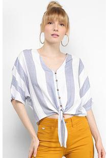 Blusa Facinelli Botões Nó Listrada Feminina - Feminino-Azul