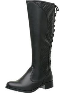 Bota Feminina Montaria Regulagem Top Franca Shoes - Feminino-Preto