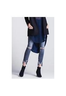 Calça Jeans Feminina Bordado Barra Jeans