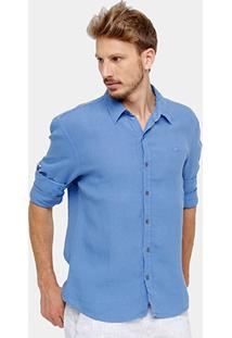 Camisa Social Ellus Clássica Masculina - Masculino-Azul