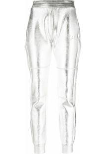 Karl Lagerfeld Calça Slim Metalizada - Prateado