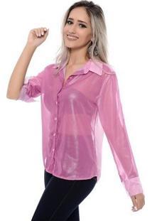 Camisa Bbonnie De Chiffon Transparente - Feminino-Rosa