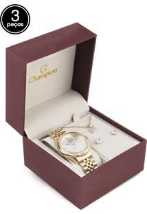 Kit 3 Pçs Relógio Champion Cn25771C Dourado