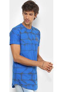 Camiseta Alongada Fatal Estampada Masculina - Masculino-Azul