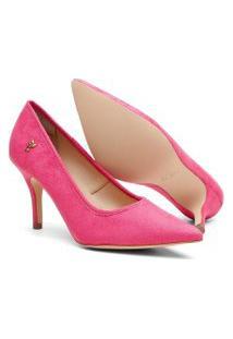 Scarpin Feminino Camurça Candy Color Bico Fino Salto Médio Amarelo 34 Rosa