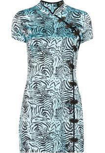 De La Vali Vestido Com Estampa De Tigre - Azul