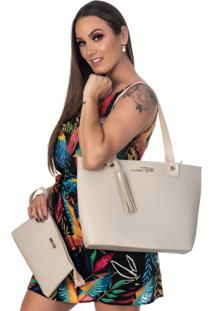 Bolsa Kit 3 Peças Feminina Metalasse Creme
