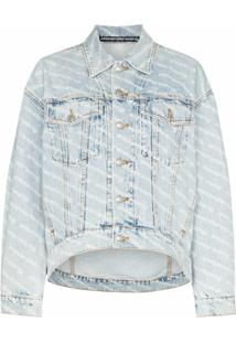 Alexander Wang Jaqueta Jeans Com Estampa De Logofalling Back - Azul
