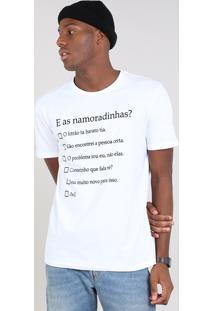 "Camiseta Masculina ""E Os Namoradinhos"" Manga Curta Gola Careca Off White"
