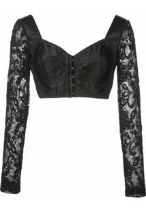 Dolce & Gabbana Bustier Com Recortes De Renda - Preto