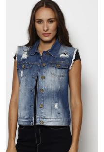 Colete Jeans Com Rebites- Azul Escurotuareg
