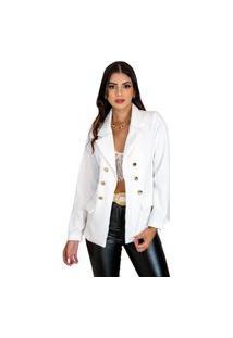 Blazer Feminino Botões Dourados Estilo Balmain Top Qualidade Acinturado Moderna Branco