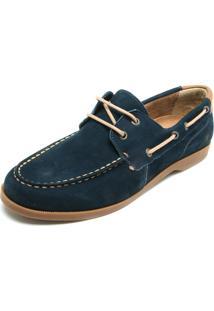 Sapato Couro Cavalera Cadarço Azul