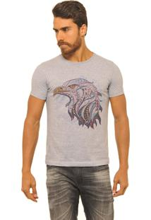 Camiseta Masculina Joss Premium New Aguia Étnica Mescla Cinza