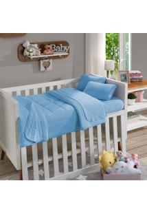 Lençol Com Elástico Para Berço Soft Baby Liso Azul Bebê - Sbx Têxtil