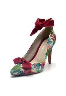 Scarpin Flor Da Pele Bico Fino Floral Bege