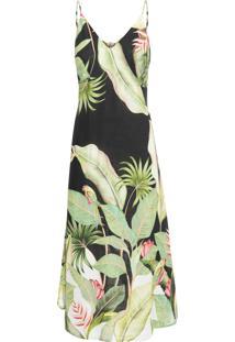 Vestido Midi Jardim Bananeira - Preto