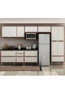 Cozinha Compacta 13 Portas 4 Gavetas 5474T Nogueira/Branco - Multimóveis