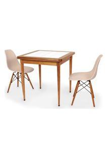 Conjunto Mesa De Jantar Em Madeira Imbuia Com Azulejo + 2 Cadeiras Eames Eiffel - Nude