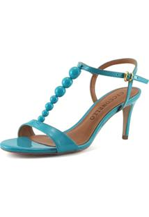 Sandália Cecconello Salto Fino Verniz Azul