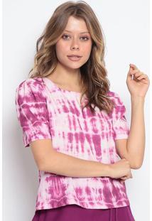 Blusa Tie Dye Com Botã£O - Rosa Escuro & Branca - Chochocoleite