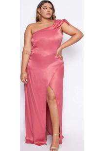 Vestido Almaria Plus Size Pianeta Acetinado Rosa