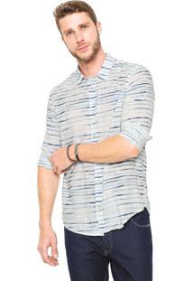 Camisa Reserva Regular Fit Listrada Branca/ Azul
