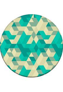 Tapete Love Decor Redondo Wevans Abstrato Verde 84Cm