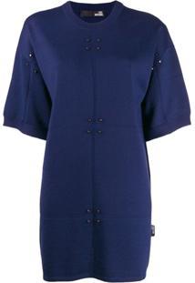 Love Moschino Vestido Mangas Curtas - Azul