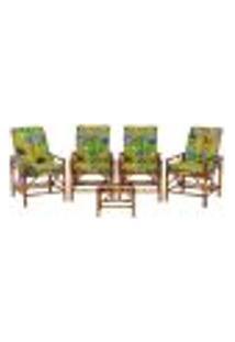Conjunto Mesa E 4 Cadeiras De Bambu Cancun Para Área Edicula Jardim G33
