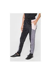 Calça Calvin Klein Jeans Jogger Plush Color Block Preta/Rosa