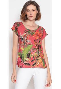 Blusa Floral- Vermelha & Verde- Tritontriton