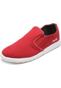 Tênis Coca Cola Shoes Elástico Vermelho