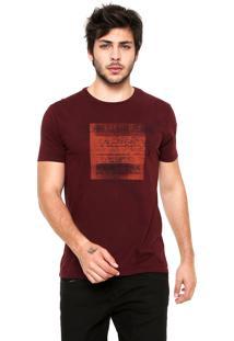 Camiseta Calvin Klein Jeans Quadrado Logo Vinho