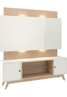 Rack Com Painel Munique Com Led 1,80 Mt Cor Off White Com Natural - 51631 - Sun House