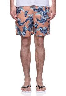 Short Praia King&Joe Floral Laranja