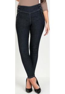 Calça Hot Pants Jeans Escura Com Botões Sawary